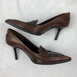 Valentino Shoes - Authentic Valentino Vintage Brown Leather Heels 35